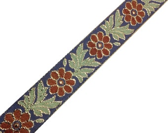 Jaqcuard Lace in Floral Pattern - Grey - Olive - Gold Sari Ribbon / Trim / Lace  for Dresses, Sari  and more