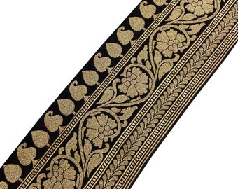 Black and Gold Brocade Border Extrawide - Gold Trim / Lace / Ribbon -  Brocade Silk Border by Yard