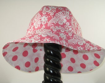 Sun Hat, Sunhat, Reversible Pink Damask and Polk a Dot Girl's Sun Hat