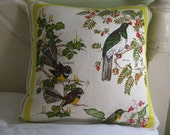 Cushion Cover/Pillow - home decor - Vintage NZ Birds tea towel upcycled to cushion cover in yellow and white with zip