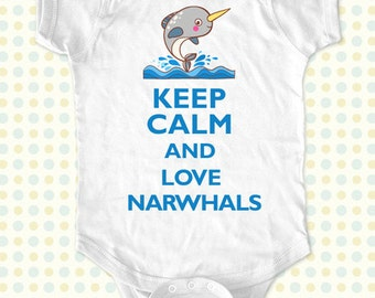 Custom Keep Calm and Love Narwhals kids one-piece or Shirt - Printed on Baby one-piece, Toddler, Youth shirts