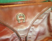 Etienne Aigner Handbag Purse crossbody vintage brown magnetic closure logo exterior zipper pocket inside leather soft evening