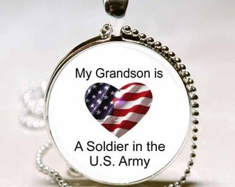 My Grandson is a Soldier in the U.S. Army Patriotic  Necklace Pendant, Patriotic Photo necklace charm (PD0424)