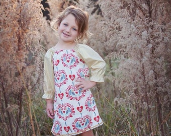 Winter Holiday Dress / Red and Ivory Holiday Print with Gold 3/4 Ruffle Sleeves / 6 months to 5T / Made to Order