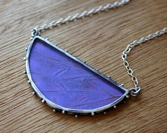 Real butterfly wing necklace - Real butterfly necklace - silver butterfly necklace - real butterfly - real Morpho wing necklace