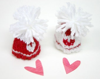 Heart Miniature Hats- Two Tiny Knitted Beanies- Doll, Small Pet, Love- Made To Order- Red and White- Valentines