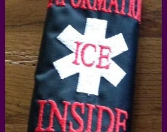 ICE In Case of  EMERGENCY Seat Belt Cover Pad Machine Embroidery Desgin