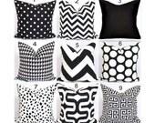 Black Pillows, Black Pillow Covers, ALL SIZES, Black Decorative Pillows, Chevron.Diamonds, Floral, .ZigZag, Greek Key,Pillow Cover, Cushion
