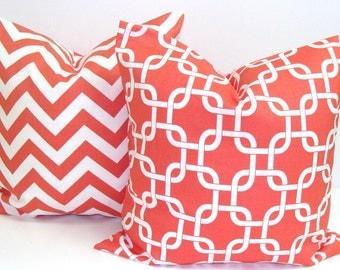 CORAL PILLOW SET.20x20 inch.Chevron Decorative Pillow Covers.Housewares.Coral Chevron.Coral Pillow Covers.Coral.Chevron.ZigZag.Chainlink.