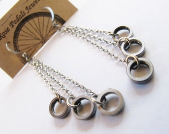 Recycled Jewelry - Bike Chain Circle Earrings - eco friendly gift - bicycle