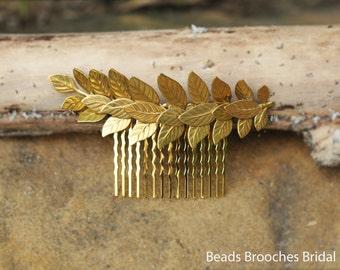 Large Gold Leaf with Gold Hair Comb for Wedding,Grecian Wedding Gold Laurel Leaf Hair Accessory,Bridal Grecian & Greek Wedding Hair