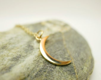 Crescent Moon Small pendant Necklace - Natural Bronze with Goldfilled Chain / Silver pendant with silver chain