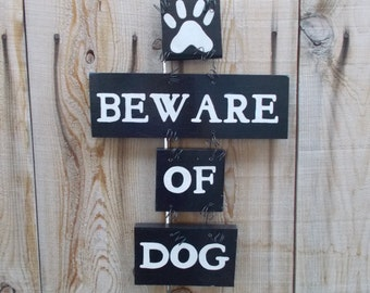 Beware of Dog Sign, Beware of Dogs, Warning Dog Sign, Door Art, Fence Sign, Hand Painted Yard Art, Handmade, Black and white, Wood Plaque