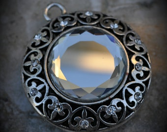 Large Silver Mirror Flourish Pendant