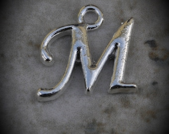 Letter M Silver Plated Charm