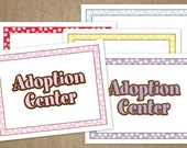 Puppy Dog Birthday Party Decorations - DIY Pet Adoption Signs and Certificate 3 pack - Pink, Purple, Red, Yellow, Blue - Instant Download
