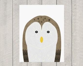 Owl Nursery Art Print - Woodland Animal Art