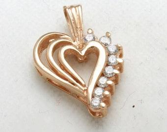 Vintage 14k rose gold heart pendant Cubic Zirconia love pink gold Estate
