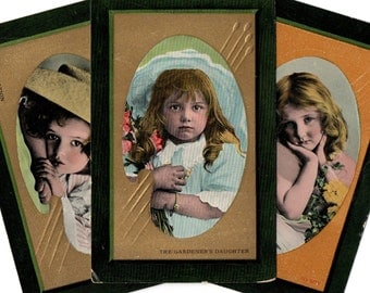 Set Of Three Adorable Tinted Antique Real Photo Postcards Early 1900 RPPC GOOD Used CONDITION