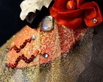 Fabulous Red Rose Fascinator / Hat with Black ribbon, Rhinestones, and Gold veil