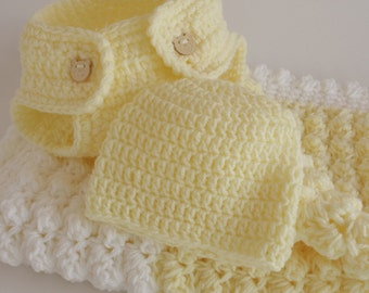Yellow and white. Extra thickness handmade crochet baby layette / gift set.   Ideal Christening / shower /layette /new baby boy/girl gift.
