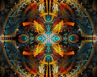 Star Matrix, Original Mandala , Spiritual, Psychedelic, Shamanic, Ayahusaca Art, printed on archival photopaper