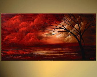 """Red Gorgeous Landscape Painting Clouds, Sunset, Sunrise,  Tree Abstract Acrylic Painting by Osnat - MADE-TO-ORDER - 48""""x24"""""""