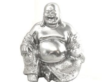 silver buddha statue, buddai, laughing buddha, home decor, zen, buddhist, good fortune, chrome, metallic decor, spiritual statues