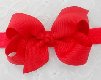 Valentine Baby Headband Bows Red Bow Headband Red Minnie Mouse Headband Red Baby Bow Headband Newborn Infant Toddler Red Boutique Bow