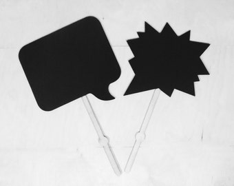 2 Large Chalkboard on Stick Speech Bubble Photobooth Prop Wedding Chalk Board, Reusable Photo Prop Engagement Sign Maternity  or Baby Props