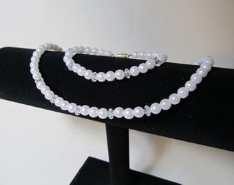 Pearl Flower girl Necklace & Bracelet Set