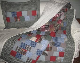 Homespun Twin Quilt with Matching Pillow Sham
