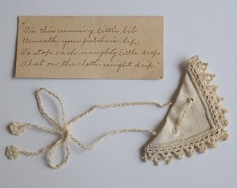 RARE Drip Catcher for Drink Pitcher Hand Made Tatting on Linen Poem written with a Fountain Pen
