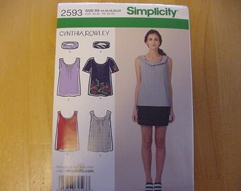 Uncut 2009 Simplicity Pattern 2593, Misses Scoop Neck Top, Blouse and Headband, Variations,  Misses and Plus Size 14-22