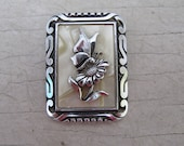 Vintage celluloid and metal scarf clip butterfly and flower