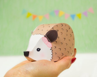DIY Woodland Favor Boxes, Hedgehog Gift Box, Printable Woodland Baby Shower Party Favors, Printable PDF Gift Boxes, Instant Download