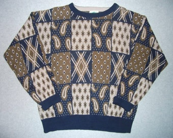 Vintage 80s 90s Hipster Bill Cosby Show Paisley Sweater Long Sleeve Tacky Gaudy Ugly Christmas Party X-Mas Made In USA XL Extra X Large