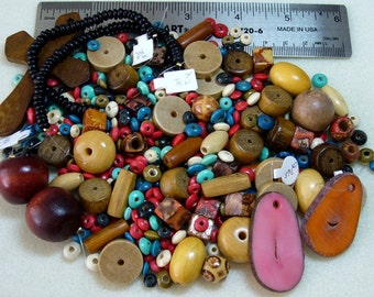 PRICE DROP - Destash - Wood Lot - variety - beads, pendants - WD178