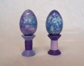 Pair of Aqua Purple & Pink Marbled Easter Eggs on Pedestal