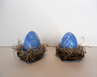 Blue and White Marbled Easter Egg in Nest