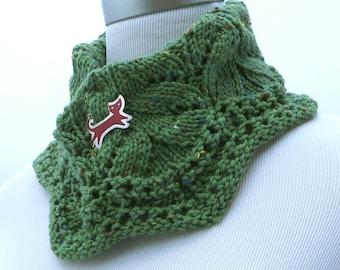 Hand knit green tweed cowl