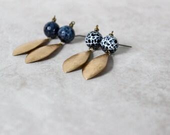 SALE 20% OFF - Agate + Brass Earrings, Brass Petal Earrings, Modern Earrings, Minimalist Earrings, Everyday Earrings