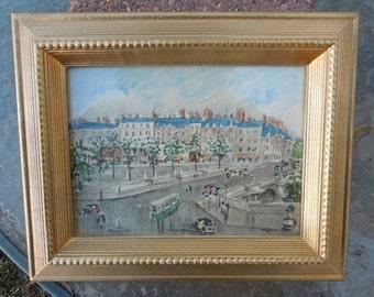 Vintage Guy De Neyrac Print Le Point Neuf Framed City Scene Paris France