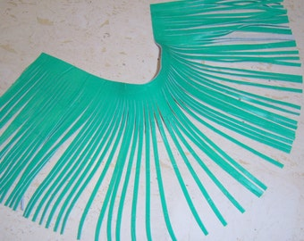 wide and long Genuine leather fringes  green embossed - wide leather fringes - long leather fringes 23 x 6 inches