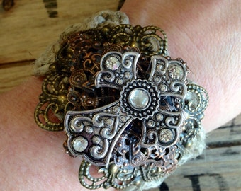 Jute Cuff With Rhinestone Cross