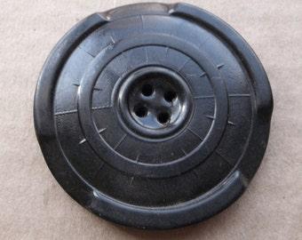 unique vintage over sized black rubber button