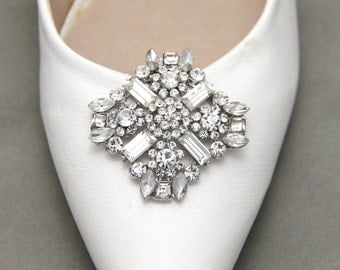 A Pair Of Rhombus Star Shoe Clips, Four Baguettes Rhinestone Crystal Shoe Clips, Wedding Bridal Shoe Clips, Shoes Decoration Accessories