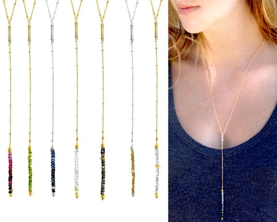 Y Necklace.  Vertical Bar Necklace. Ombre gemstones. Gold Bar Necklace. Silver Bar Necklace. Birthstone Jewelry.