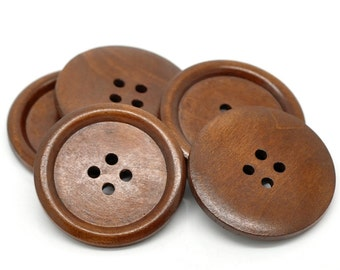 "Large 8 pcs Reddish Brown Wood Buttons 40mm 1 5/8"" (WB2346)"