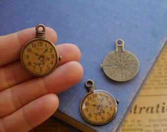 3pcs Antique Bronze Pocket Watch Charms Clock Pendants 32mm (BC2502)